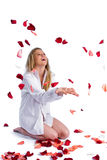 Woman With Rose-petal Stock Photography