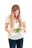 Woman With Salad And Scales Stock Photography