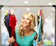 Free Woman With Shopping Bags In Clothing Store Royalty Free Stock Images - 40392209