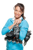 Woman With Skates Stock Image