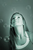Woman With Soap Bubble Royalty Free Stock Image
