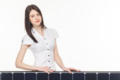 Woman With Solar Panel Royalty Free Stock Photo