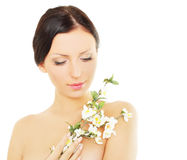 Woman With Spring Blossom, Spa Concept Stock Photography