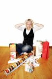 Woman With Stress On Christmas Stock Image