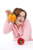 Woman With Sweet Peppers. Stock Photos
