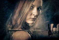 Woman With Sword Royalty Free Stock Images