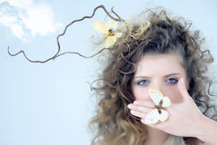 Woman With The Butterfly. Stock Images