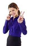 Woman With Victory Gesture And Mobile Phone Stock Images