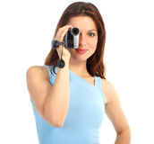 Woman With Video Camera Stock Photo