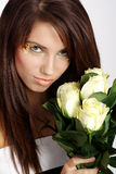 Woman With White Rose Royalty Free Stock Photo