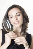 Woman With White Wine Royalty Free Stock Images