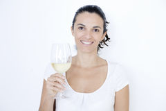 Woman With White Wine Royalty Free Stock Photo