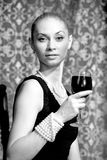Woman With Wine Stock Images