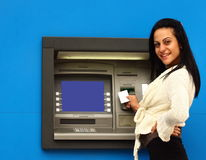 Woman withdraw money from atm Royalty Free Stock Image