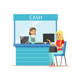 Woman Withdrawing Cash At Bank Cashier. Bank Service, Account Management And Financial Affairs Themed Vector. Illustration. Smiling Cartoon Characters In Bank Stock Photo
