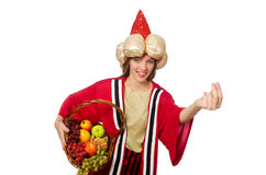 The woman wizard in red clothing isolated on white Royalty Free Stock Images