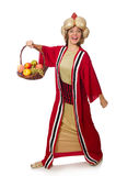 The woman wizard in red clothing isolated on white Royalty Free Stock Photo
