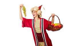 The woman wizard in red clothing isolated on white Stock Image