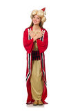 The woman wizard in red clothing isolated on white Stock Images