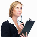 Woman wlth pen in hand- White background Stock Photos