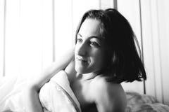 The woman woke up. royalty free stock image