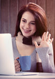 Woman woking with notebook Royalty Free Stock Images