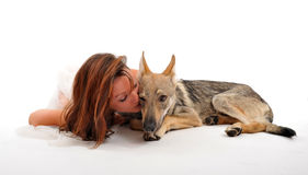 Woman and wolf Stock Photography