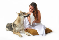 Woman, wolf and dove Royalty Free Stock Image