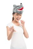 Woman in wolf mask Royalty Free Stock Images