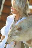 Woman with wolf skin Royalty Free Stock Image