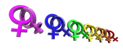 Woman-woman symbols rainbow Royalty Free Stock Photos