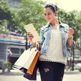 Woman Women Girl Shopping Mobility Business Bags Concept Stock Photography