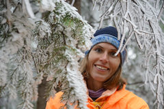 Woman in wonderful winter forest Stock Photo