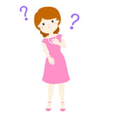 Woman wondering cartoon character. Illustration Royalty Free Stock Image