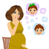 Woman wondering about the gender of her future baby Royalty Free Stock Image