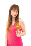 Woman wonders on flower Royalty Free Stock Photo