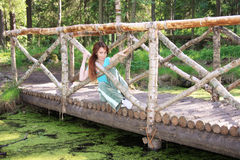 Woman in wood on bridge at pond Stock Image