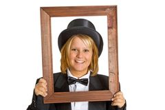 Woman with wooden frame Stock Images