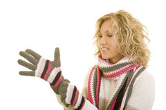 Woman in wool gloves Royalty Free Stock Photos