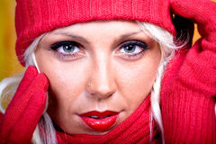 Woman with wool scarf Stock Photo