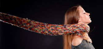 Woman in wool scarf Royalty Free Stock Images