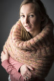 Woman with wool scarf Royalty Free Stock Photos