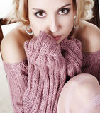 Woman in wool sweater Stock Photography