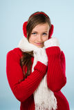 Woman and woolen outfit Stock Image