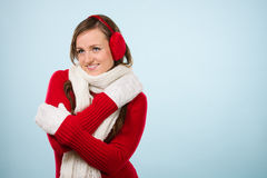 Woman and woolen outfit Royalty Free Stock Images