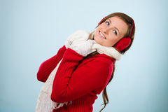 Woman and woolen outfit Royalty Free Stock Photography