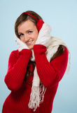 Woman and woolen outfit Stock Photography