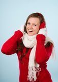 Woman and woolen outfit Stock Images