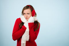 Woman and woolen outfit Royalty Free Stock Photo