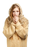 Woman in woollen comforter warming frozen hands Royalty Free Stock Image